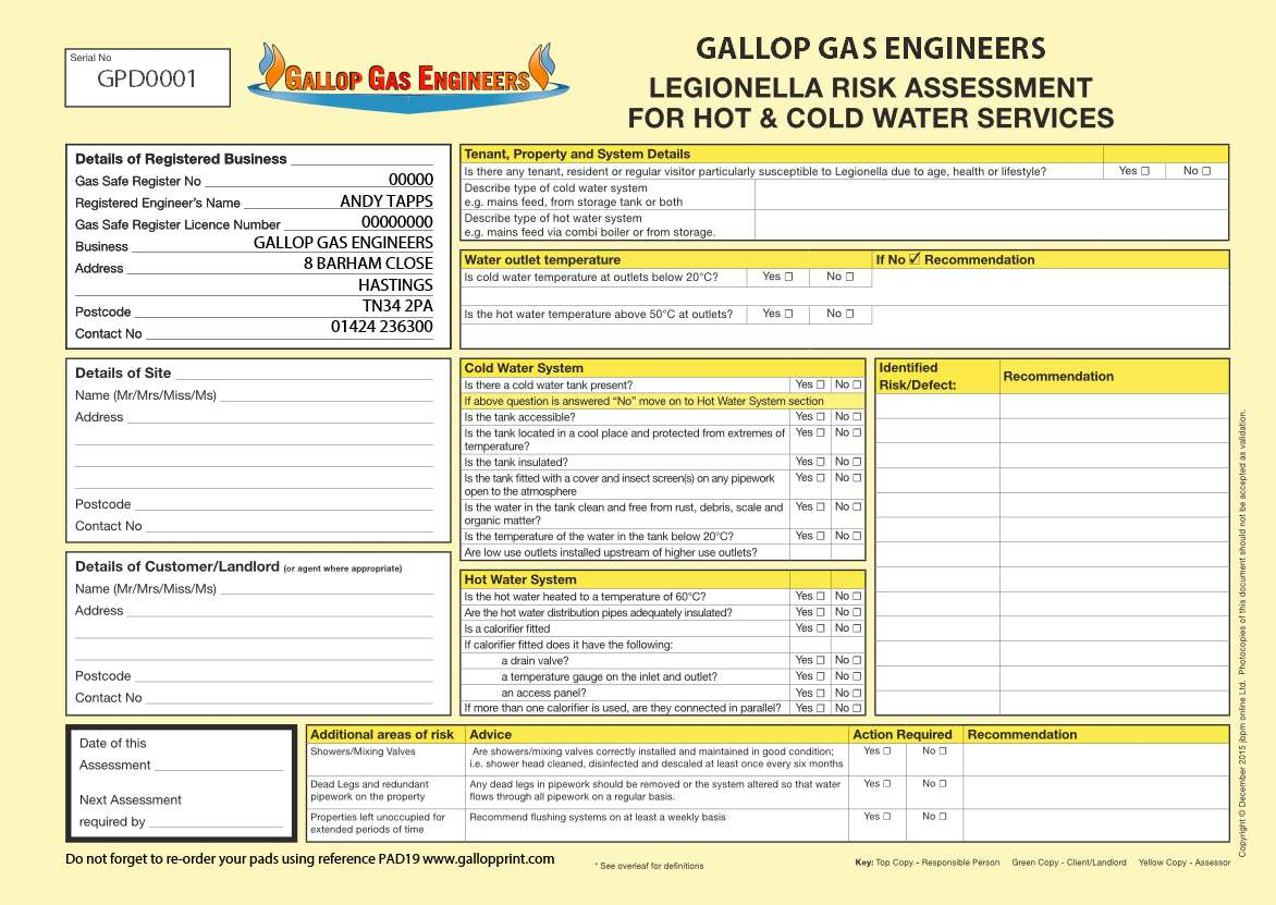 Legionella risk assessment template