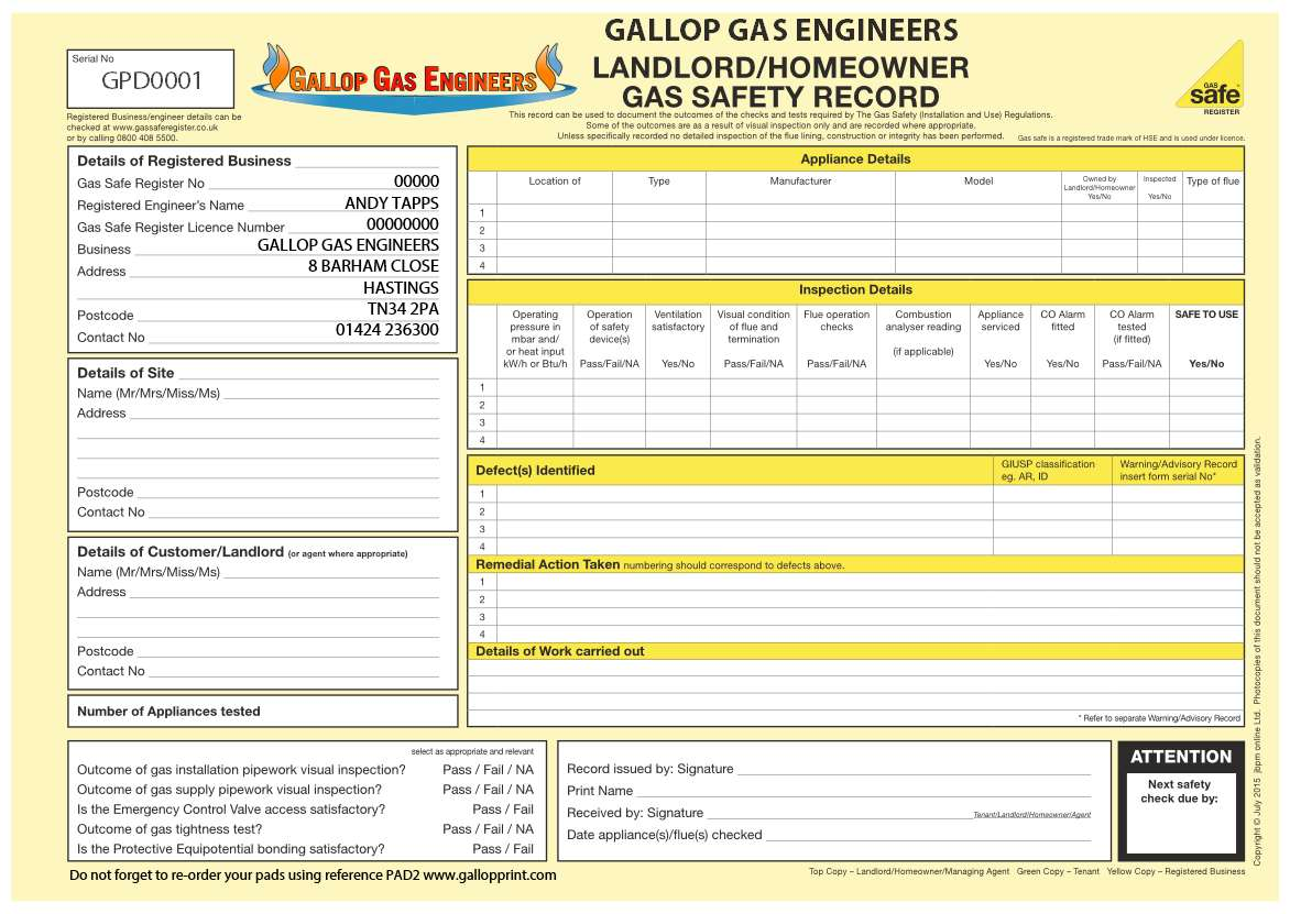 Landlord Homeowner Gas Safety Record Personalised Pad 2