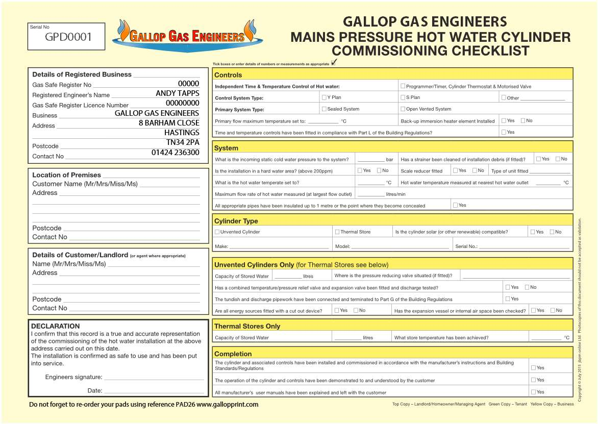 Mains Pressure Hot Water Cylinder Commissioning Checklist ...